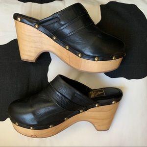 "Aldo ""Frida"" Black Leather Stud Clogs"